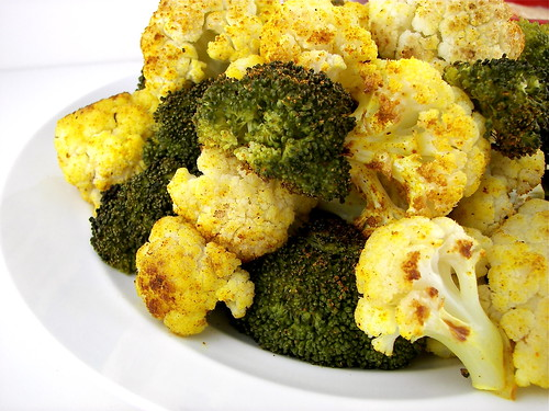 Curry Roasted Broccoli and Cauliflower