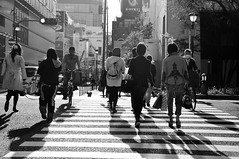 Cross the road ([~Bryan~]) Tags: street shadow bw japan crossing osaka crossroad backlights