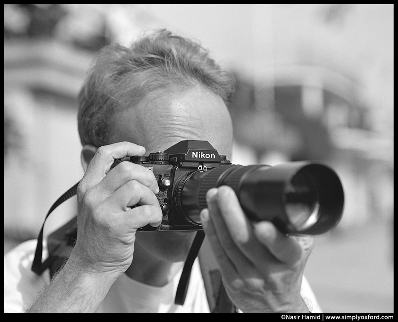 Photographer using a Nikon F3 film camera
