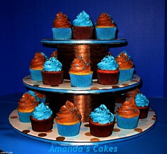 Blue & Brown Cuppies (mandotts) Tags: blue brown cupcakes teal retro polkadots housewarming customcupcakestand