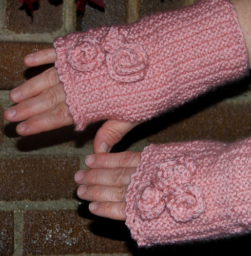 Roses and Ruffles Fingerless Mitts