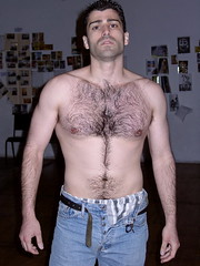 518806008_ceb6e7c74a_o (Furrymark) Tags: shirtless hairy man pecs dark fur bare chest handsome jeans otter stubble buttonfly