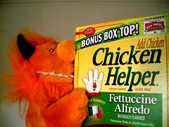 Helix found a creepy hand in the kitchen! (helixdmonster) Tags: orange kitchen monster puppets helix handpuppets creepyhands monsterhandpuppets helixdmonster msh1207 msh120711 chickenhelper