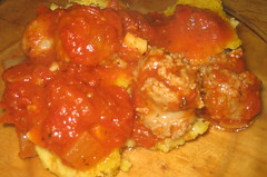 Polenta with marinara and sausages