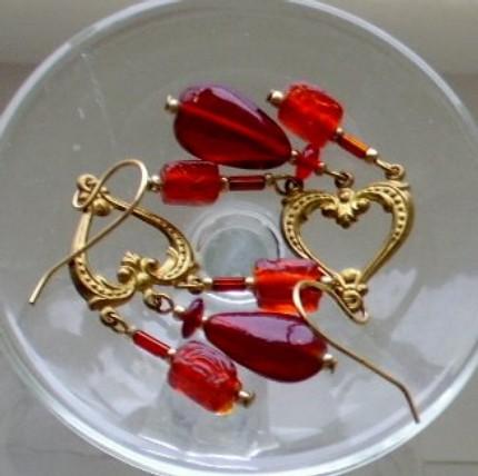 Gold Heart Chandelier Earrings