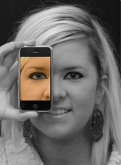 iPhone...Eye Phone? (John of Dublin) Tags: portrait bw eye girl smile searchthebest daughter bullseye shiningstar goodtimes iphone musictomyeyes selectivecolour aphoto blueribbonwinner artisticexpression abigfave enstantane anawesomeshot impressedbeauty aplusphoto portraitoftheface portraitaward citrit ysplix perfectionaward creativephotographers heartawards photostosmileabout eperke portraitoftheworld platinumheartaward dazzlingshots portraitsofyourlove clevercreativecaptures allkindsofbeauty