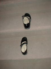 found shoes on steps (thirtyoneteeth) Tags: nyc eastvillage stairs shoes sidewalk foundshoes