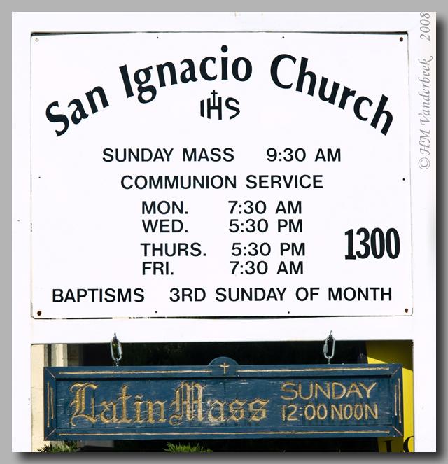 St. Ignacio Church Sign