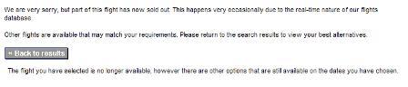 Thomas Cook unavailable flights message