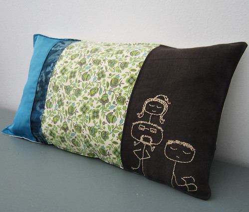 Family doodle embroidery pillow