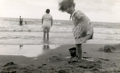 Being at the seaside (lovedaylemon) Tags: sea holiday beach vintage found seaside bucket sand image paddling spade