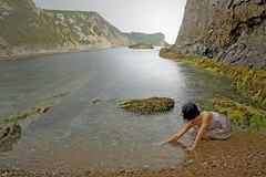 From the sea (kT LindSAy) Tags: sea beach water girl cove explore dorset manowar lulworthcove durdledoor flickrexplore