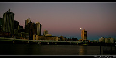 Full Moon over Brisbane City ([ Kane ]) Tags: bridge pink sky moon water buildings reflections river lights dusk brisbane fullmoon qld kane ciry gledhill 400d blurhour kanegledhill humanhabits kanegledhillphotography