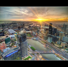 Melbourne Skydeck Sunset (AliCPhotography) Tags: street city sunset sky panorama sun cars window water glass clouds train view metro horizon tracks melbourne southbank flare docklands colourful sunrays hdr eureka skydeck carriages etihad melbournehdr hdrwork etihadstadium