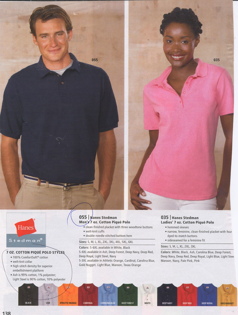 7 oz. Cotton Pique Polo Men's and Ladie's by Hanes