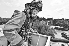 Bruce in the Bucket (bsomedic) Tags: nikon wideangle tokina firehouse firefighter weston dx lightroom lr3 d90 blackwhitephotos lightroom3 atxpro116dx bsofr