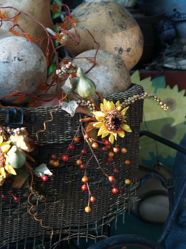 fall decorated baby carriage