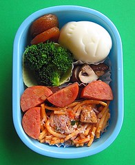 Pineapple sausage bento lunch for preschooler