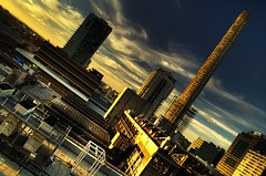 lsps071024a (slide to mediocrity) (mugley) Tags: city sunset chimney urban skyline architecture clouds buildings nikon industrial scaffolding d70 australia melbourne demolition victoria stack hdr mps 3xp lonsdalestpowerstation 1855mmf3556gii melbournepowerstation