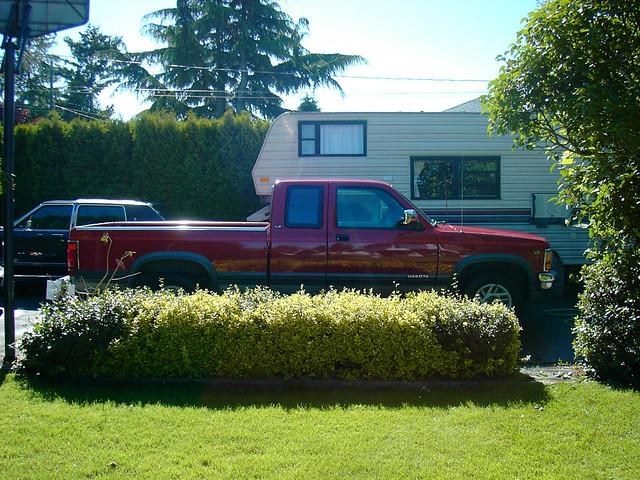 red pickup lincoln dodge 1991 trailer dakota v8