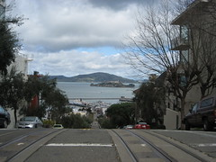 Alcatraz (sugarkulitsy) Tags: ocean street railroad sky clouds tracks tram alcatraz goingdown