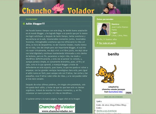 Screenshot del Chancho Volador de Blogger