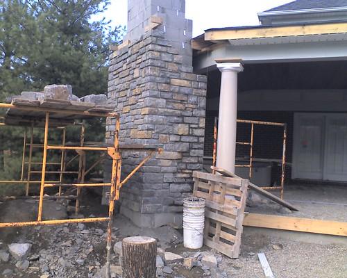 Back porch progress my desultory blog for Back porch fireplace