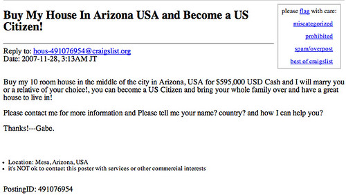 Housing bubble bursting ad in Craiglist