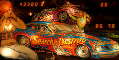 Pinball Baby (Paul McRae (Delta Niner)) Tags: playing game art bells race vintage skeleton fun lights official rainbow kill dr awesome flames badass hell arcade curls racing