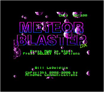 Meteor Blaster DX Title Screen with Personalization
