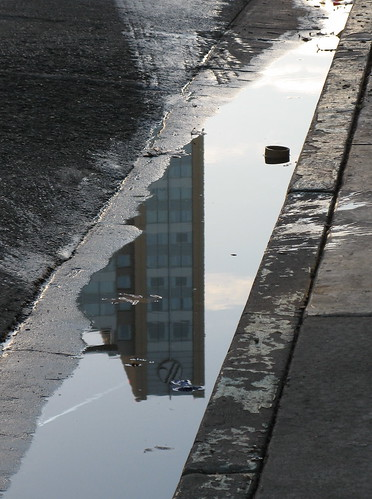 Marriott hotel in a water puddle