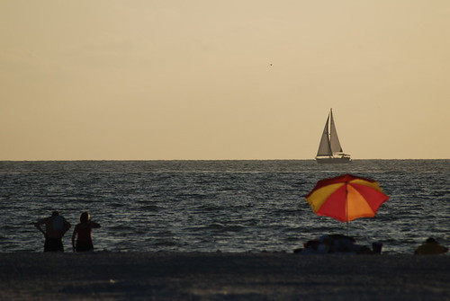 Clearwater Beach, Florida: Sunny Beach, Sailboat, People On The Beach