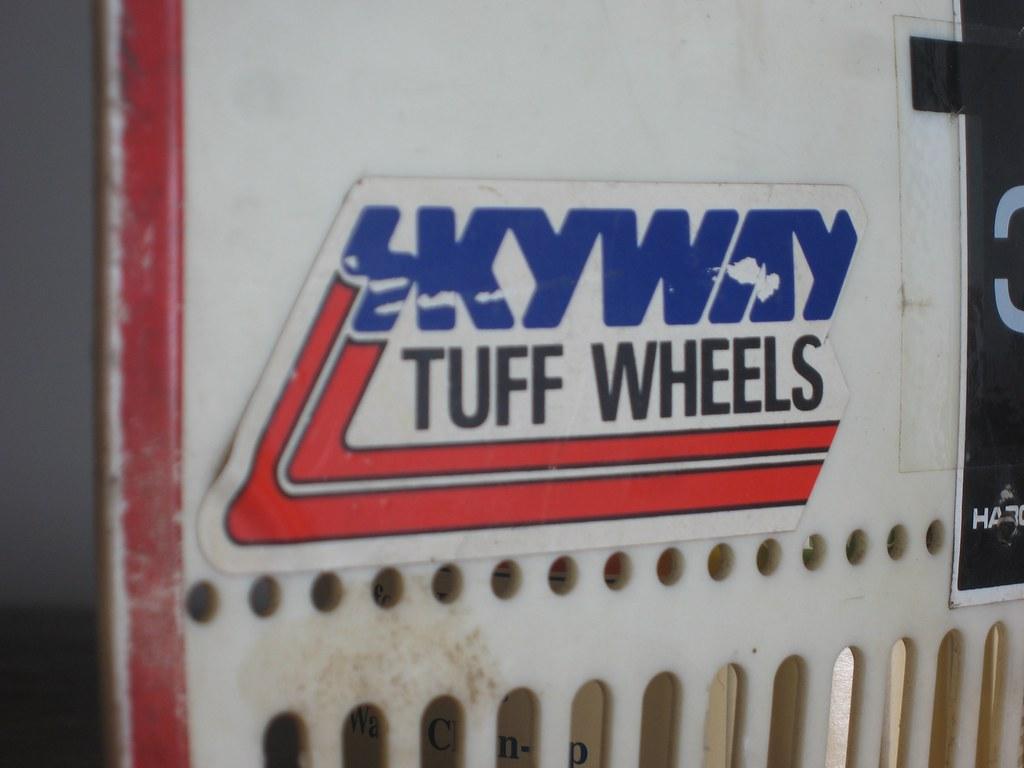 SKYWAY TUFF WHEELS Logo Sticker on HARO Series 1B BMX number plate