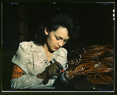 Woman aircraft worker, Vega Aircraft Corporation, Burbank, Calif. Shown checking electrical assemblies  (LOC) (The Library of Congress) Tags: california red woman usa color armband june dedication vintage hair la losangeles wire factory unitedstates rosietheriveter aircraft labor makeup progress slidefilm lips blouse socal 1940s gloves cables wires 1984 transparency glove 4x5 lf worker hudson libraryofcongress burbank freckles lipstick 1942 boeing brunette sfv coil douglas electrical vega largeformat sanfernandovalley inspector wecandoit coiff assembly fsa wartime transparencies floraldress employed crimpedhair b40 northamericanaviation b17flyingfortress wareffort xmlns:dc=httppurlorgdcelements11 dc:identifier=httphdllocgovlocpnpfsac1a34456 davidbransby orangebadge workingglamour everyonedidtheirpart bransbydavid airovercompany xb38 airovermodel1 airovermodel2 electricalassembly