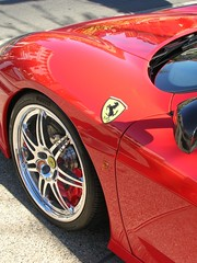 Ferrari Brakes (Brave Heart) Tags: ca red reflection cars car tire ferrari racing lookdown brakes rim livermore rims 2008 shinny carshow stradale sportscars racingcars livermoreca carrim discbrakes redferrari livermorecarshow ferraribrakes ferraririm 360stradale
