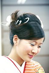 A geisha moment (Jaako) Tags: portrait smile japan hair japanese hokkaido profile makeup bodylanguage shy cathywang geisha  kimono cathy smirk takikawa cathycracks womensclub canoneos30d canon247028l  goodfishiescom soroptimistsociety