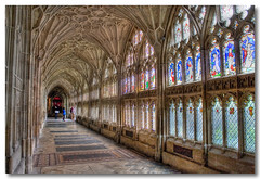 Stained Beauty (Roger.C) Tags: old windows history glass stone canon ancient cathedral corridor stained holy tiles walkway gloucester 1855mm 30d platinumheartaward