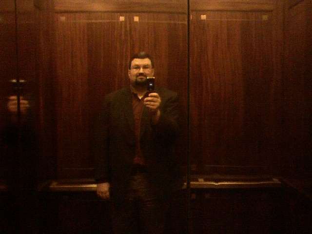 Dave in the elevator at Bank of America Plaza