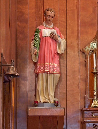 Saint Stephen Roman Catholic Church, in Richwoods, Missouri, USA - statue of Saint Stephen, Protomartyr.jpg