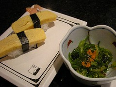 Japanese Dinner - Egg sushi and seaweed