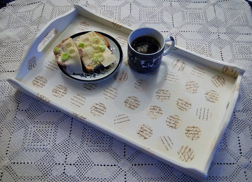 White decoupage tray