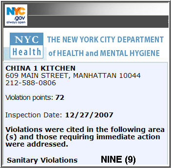 China 1 - NYC Health