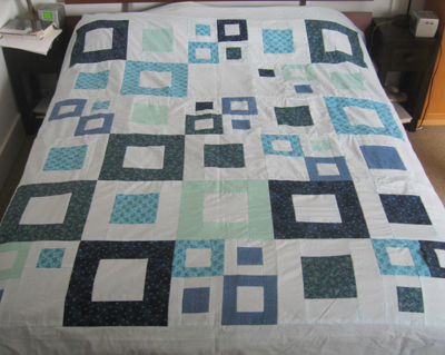 "Finished top of ""Blue Squares"" quilt"
