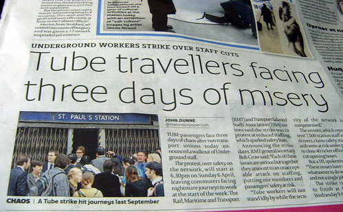 Tube Strike in the londonpaper