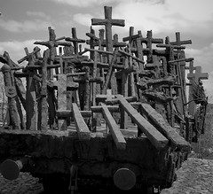 carriage of crosses (Daniel*1977) Tags: life old city sky people urban blackandwhite bw woman white man black men history me monument graveyard sepia train self work myself wagon death town photo interesting women memorial war europe walks flickr force cross district steel daniel fear gray captured picture samsung poland polska neighborhood human mind crucifix april violence pro warsaw civic around cementary did 1977 2008 citizen section province environs warszawa proximity precinct casualties vicinity pro815 samsungpro815 lossoflife kuliski didmyself gettypoland1 gettycentraleurope