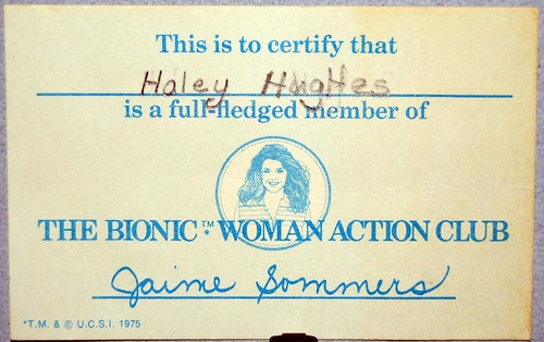 Membership card in the Bionic Woman Action Club