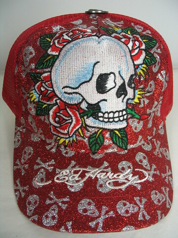 Ed Hardy Skull Rose Red Hat