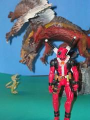 Day 057: Deadpool delivers! (To the babysitter...) (Spectacular Sameth) Tags: dragon marvel mcfarlane mercenary deadpool mercwithamouth