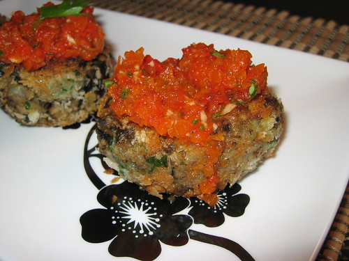 Eggplant Croquettes with Roasted Red Pepper Sauce