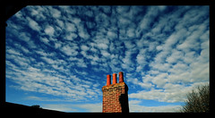 Widescreen cloud magic - Altocumulus Stratiformis  Radiatus (s0ulsurfing) Tags: blue roof light chimney sky cloud sunlight nature weather clouds island skies natural bright wind suburban patterns bricks wide wideangle vectis isleofwight isle wight lookingback 2007 freshwater converge altocumulus persepctive 10mm converging freshwaterbay sigma1020 s0ulsurfing thecloudappreciationsociety radiatus aplusphoto stratiformis altocumulusstratiformisradiatus